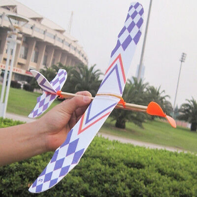 10x Cool DIY Rubber Band Elastic Powered Glider Flying Plane Airplane Kids Toy