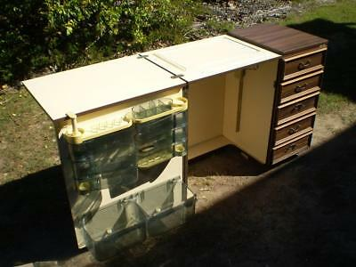 Vintage Horn 3 drawer Timber look cabinet fold out top storage areas on wheels