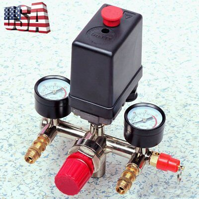 Manifold Regulator Gauges/120PSI Air Compressor Pressure Switch Control Valve OY