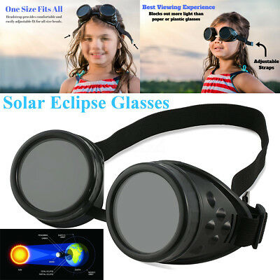 Adjustable Black Solar Eclipse Glasses  Shade 14 Goggles Safe Sun Viewing 2017