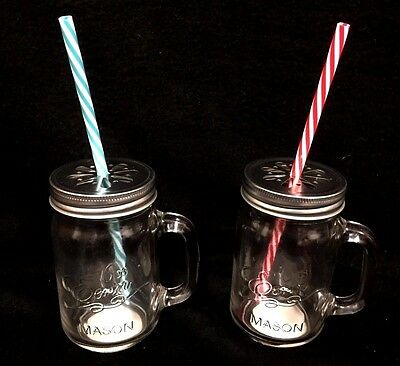 6 x Glass Handle Mason Water Drink Bottle Jar  With Lid And Straw New