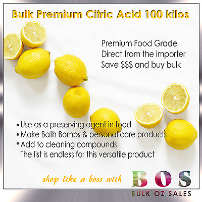 Bulk 100 Kg Citric Acid Food Grade Free Same Day Delivery Metro Melb Only Bos