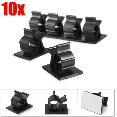 10x Nylon Cable Cord Wire Organizer Self Adhesive Clips Clamp Ties Holder Car