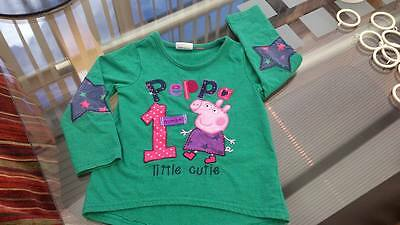 Peppa Pig T Shirt Jumper Top Baby age 18 - 24 months 100% Cotton Green Multi
