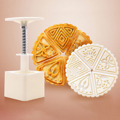 Moon Cake Decoration Mould Triangle Folwer Mold Mooncake Mould 5 Stamps +Plunger