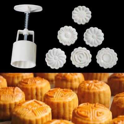 6 Stamp Mooncake Moon Cake Mold Mould Flower Decor Round Pastry Biscuit DIY Tool
