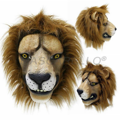 MASCARELLO Lion Latex Full Head Mask Deluxe Halloween Costume Party Animal Mask
