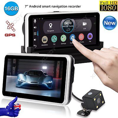 "Full HD 1080P 7"" Dual Lens GPS Navigation Car DVR Rearview Camera Recorder 16GB"