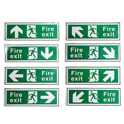 2Pcs FIRE EXIT - STICKER/SIGN - Health and Safety - ALL Direction 300x100mm PVC