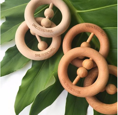 One.chew.three-  Natural Beech Wood Rattle Teether
