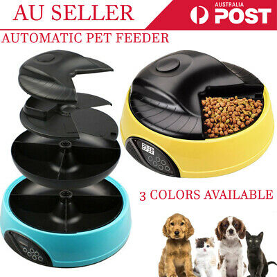 4 Meals Program Timer Digital LCD Auto Pet Dog Cat Food Feeder Water Tray Bowl