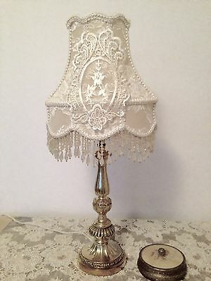 FABULOUS ROMANTIC  BRASS VINTAGE TABLE LAMP hand crafted new shade
