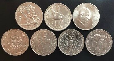 Various British Crown Shillings 1951 1953 1965 1972 1977 1980 1981 Choose by age