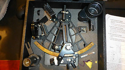 Tamaya sextant in case,  two telescopes, mirror adjustment wrench, clear optics
