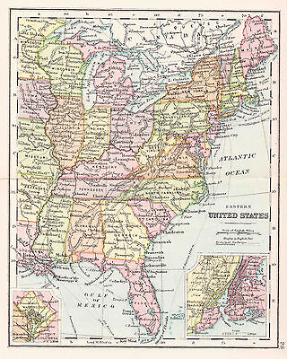 Map Of Eastern United States  8 X 10 Print 1890