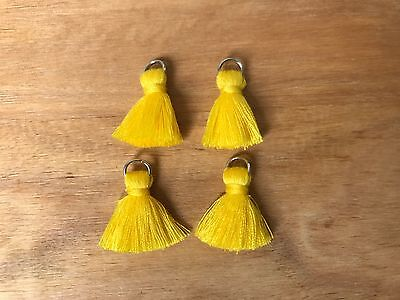 4 x Cotton Tassels 20mm 2cm Long - YELLOW - great for earrings & accessories