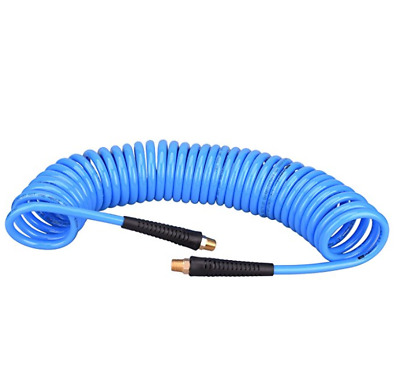 """1/4""""x 25ft Recoil Poly Air Hose, Air Compressor Hose Swivel End Bend Restrictor"""