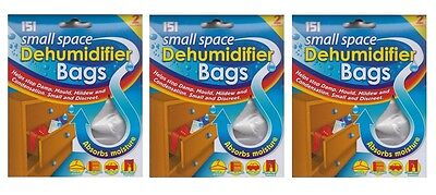 3 x Packs Of 2 Small Space Dehumidifier Bags Helps Stop Damp Moisture Mould 50ml
