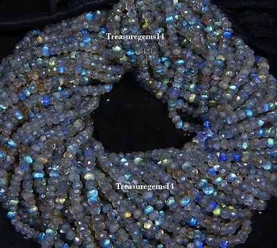 """3-4 Mm Natural Aaa Labradorite Faceted Rondelle Beads Gemstone 13"""" 5 Strand Lot"""