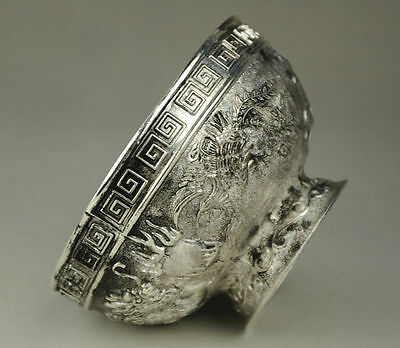 Original Old Decorated Handwork Carving Tibet - Silver bowl Collectible