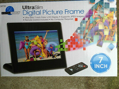 "Digital Decor DPF720 Ultra Slim 7"" LCD Digital Picture Frame, Black. Open Box."