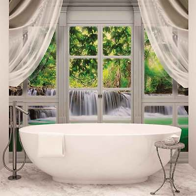 WALL MURAL PHOTO WALLPAPER XXL Curtains Window View Waterfall Forest (10629WS)