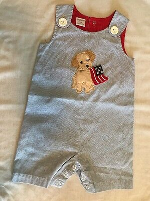 Cre8ions Creations Boys Blue Striped 4th Of July America Dog Outfit Size 18M