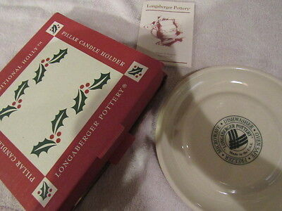 """Longaberger Pottery Candle Holder Woven Tradition Holly USA Made 7.25"""" NEW"""