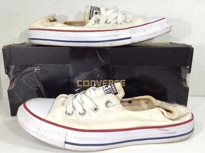 CONVERSE Shoreline Womens Size 10 White Canvas Slip On Sneakers Shoes X5-621