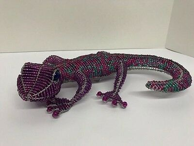 Beadworx Grass Root Hand-Crafted Beaded Large Gecko Purple Lizard Unique Decor