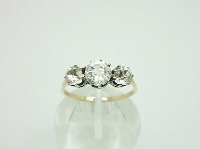 Dazzling Art Deco 9ct Gold & Sterling Silver Diamond Paste Trilogy Ring Size P