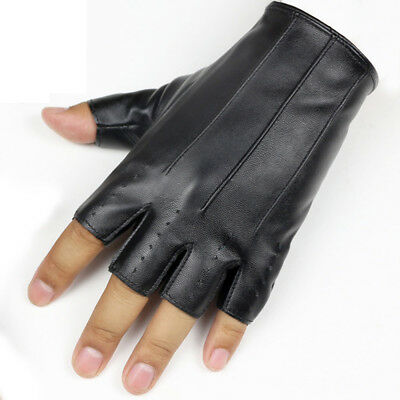 1Pair Fashion Cool Half Finger Driving Dance Women PU Leather Fingerless Gloves