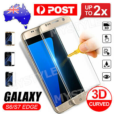 2XFor Samsung Galaxy S6 S7 Edge Screen Protector Full Coverage 9H Tempered Glass