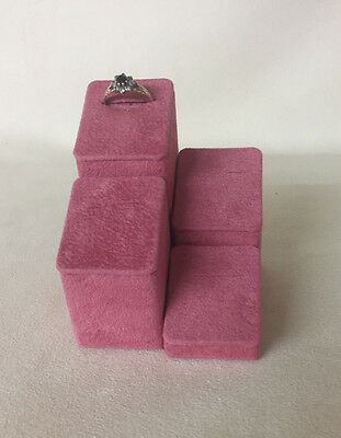 Set of 4 Jewellery Display Ring Stands *Orchid Pink* Made in the UK