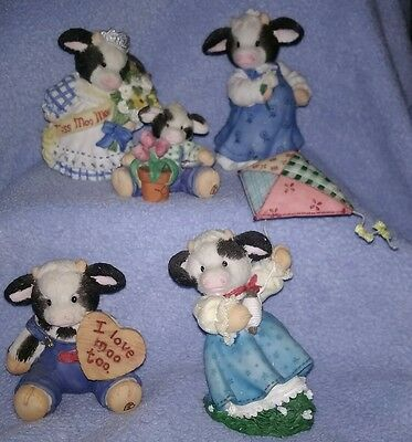 Mary Moo Moos Lot of 5  Enesco Cow Collection Figurines Mommy to Be Flying Kite