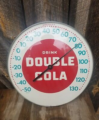 1950's 12in. Double Cola thermometer sign. Glass front. Works!