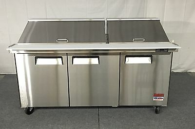 "72"" SANDWICH PREP TABLE UNIT 3 DOOR MEGA TOP SALAD PREP 30 Pan 72 Cooler 6' NEW"