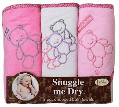 Teddy Bear Hooded Bath Towel Set, 3 Pack, Girl, Frenchie Mini Couture, New Baby