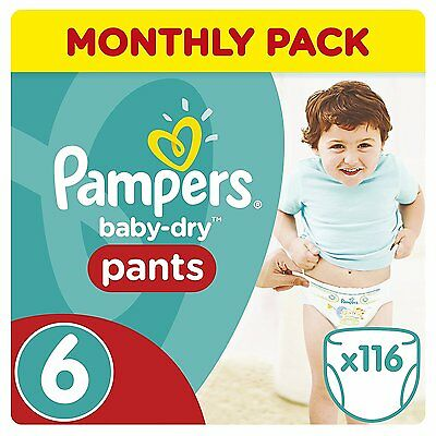 Pampers Mega Plus Baby Dry Pants Size 6 Pull Ups Saving Pack of 116 Nappies NEW