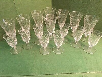16 Pc. Cut Glass Stemware; Wine Glasses and Water Glasses