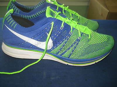 Men's Nike Flyknit Trainer Green & Blue Running Shoes Sneakers Us11 Eur 45