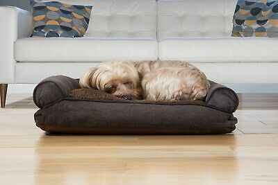 FurHaven Pet Faux Fleece & Chenille Soft Woven Pillow Sofa Dog Bed