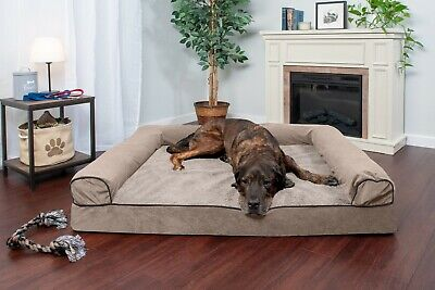 FurHaven Pet Faux Fleece & Chenille Soft Woven Memory Top Sofa-Style Dog Bed