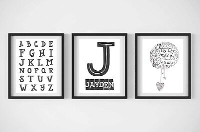 monocrome personalised print, alphabet, I love you to the moon & back, baby boy