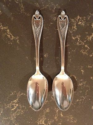 2 teaspoons1847 Rogers Brothers Rare antique XS Quintuple silverware signed 1915