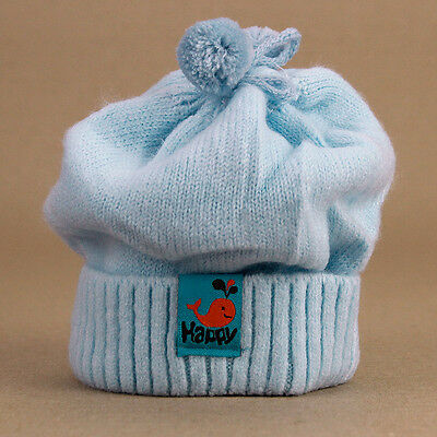 Super Soft Powder Blue Baby Beanie Stretchy Knitted Newborn up to 4mths