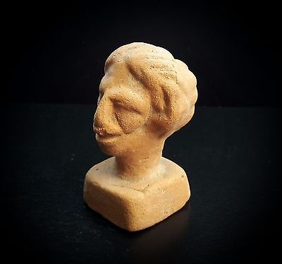 ANCIENT ROMAN RED CERAMIC GAME PIECE GROTESQUE FEMALE HEAD 1st-3rd CENTURY A.D.