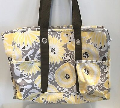 Thirty One Gifts 31 AWESOME BLOSSOM Yellow Gray Organizing Utility Tote Bag