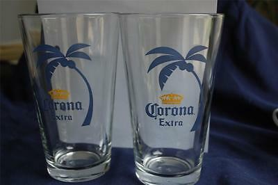 Set of 2 Corona Extra Pint Beer Glasses Mexico Brewer Palm Tree Crown Logo NICE