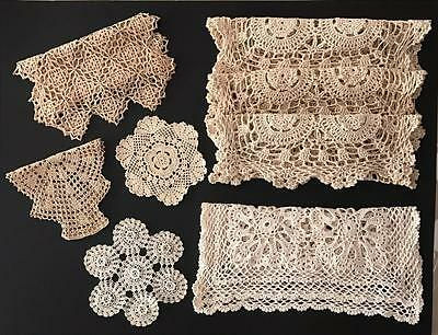 8 Assorted VINTAGE Crocheted DOILIES ~ handmade
